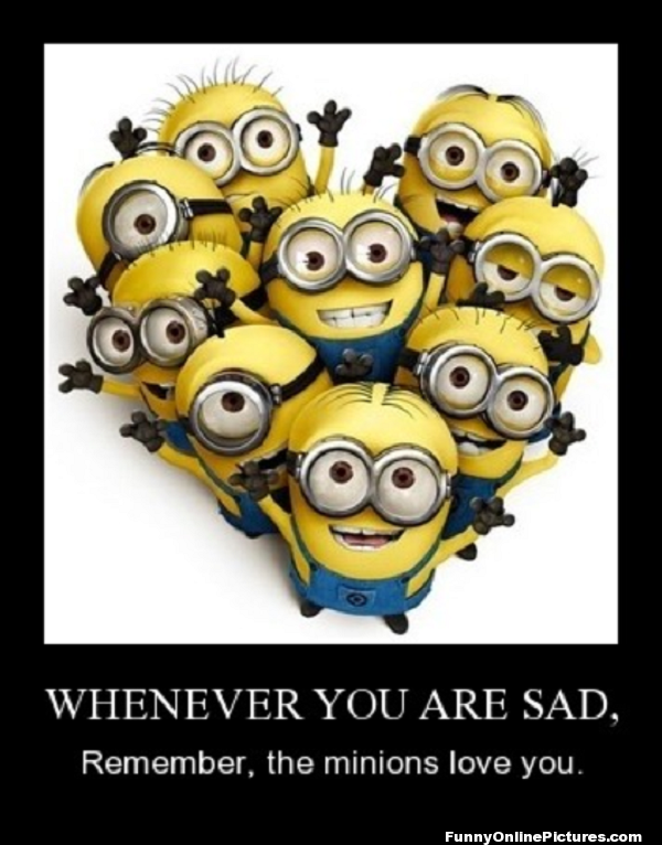 Funny & cute picture of the minions from the movie Despicable Me.